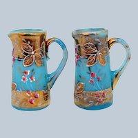 """Antique Bohemian Blue Opaline Pitcher Miniature Pair Gold Gilt Floral 2 1/4"""""""