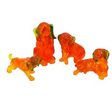 Vintage Hound Pointer Dog Figure 4 Orange Resin Sculpture Figurine Mcm