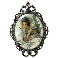 Vintage HARRISON FISHER LADY Print Ornate Gold Metal Frame Oval Bubble Glass