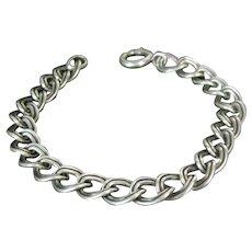 Vintage NAPIER SILVER CHARM Bracelet Chunky Link