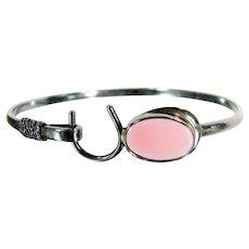 Vintage STERLING HORSESHOE Bangle Pink Stone Bracelet Silver Cuff
