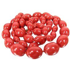 Vintage Cherry Red Lucite Bead Necklace Knotted on Red Silk Thread