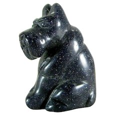 Vintage BLUE GOLDSTONE Scotty Dog Statue Miniature Figure Carved Stone Figurine