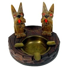 Vintage Black Forest Swiss Scottie Dog Ashtray Yorkie Carved Wood Brass Insert
