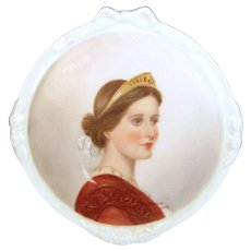 Vintage Lady Plaque Royal Crest Porcelain Hand Painted Signed Mary A. Evans