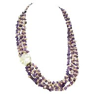 Amethyst & Peachy Freshwater Pearl Necklace Carved Mother of Pearl Flower Clasp