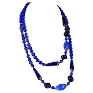 Vintage COBALT GLASS Bead Necklace Electric Blue Color Flapper Length 36 1/2""