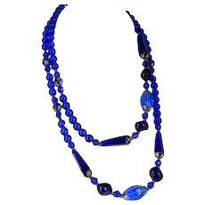 """Vintage COBALT GLASS Bead Necklace Electric Blue Color Flapper Length 36 1/2"""""""