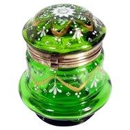 Antique MOSER ENAMEL DRESSER BOX Green Enameled Gold Floral Bohemian Glass Jar