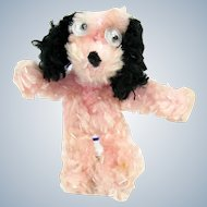 Vintage Chenille Googly Eye Dog Japan Ornament Pink Black Miniature
