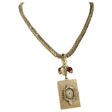 Assembled BOOK LOCKET Necklace Victorian Watch Chain Ruby Colored Beads Stones