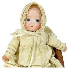 """Antique HERM STEINER German Baby Doll Bisque Head 8"""" Wood Cradle"""