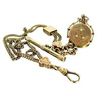 Antique SKM & Co. Gold Filled Etched Rhinestone Fob Locket and Fancy Watch Chain