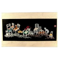 Vintage Chinese Embroidery Cat Picture Applique Whimsical Sampler Signed With Chop Mark
