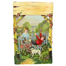Victorian Children Swinging with Jack Russell Terrier German Art Print Embossed Die Cut Sample Calendar Art