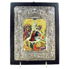 Vintage 950 Sterling Nativity Icon Byzantine Art Silver Religious Plaque