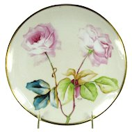 Vintage OLD ABBEY LIMOGES France Plate Roses Hand Painted Artist Signed