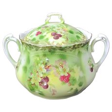 Antique Blackberry Floral Biscuit Cookie Jar Porcelain Lidded Barrel