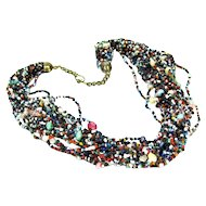 Vintage SEED BEAD TORSADE Necklace Multi Colored Glass Beads