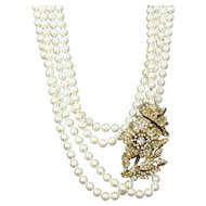 Vintage Faux Pearl Rhinestone Floral Necklace Large Statement Piece