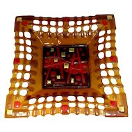 Vtg LUCIAN BUTUCARIU Fused Art Glass Platter Artist Signed Mid Century Modern