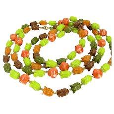 "Vintage Plastic TULIP Bead Necklace Orange Green Olive Brown Floral Beads 55"""