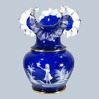 "Vintage MARY GREGORY Enameled Cobalt Glass Vase Girl and Bird Bohemian 10"" Large"