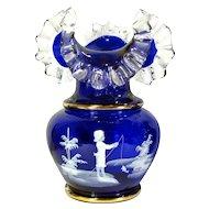 """Vintage MARY GREGORY Enameled Cobalt Glass Vase Boy Fishing Bohemian 10"""" Large"""