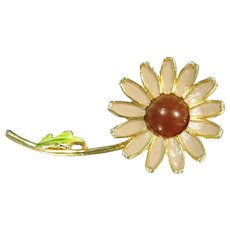 Signed WEISS ENAMEL FLOWER Pin Brown Enamel Daisy Vintage