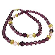 Vintage Purple & Pink Necklace 1928 Jewelry Co Amethyst Colored Faceted Glass Beads
