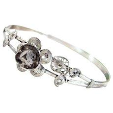 Antique 800 Silver Rose Bangle Filigree Figural Bracelet