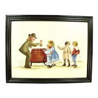 Vintage Peanut Seller & Children Painting Signed E. Moore Wood Frame