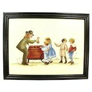 Vintage Peanut Seller & Children Painting Signed E. Moore Wood Frame