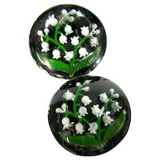 Antique Intaglio Glass Button 2 Reverse Painted Lilly Of The Valley Flowers