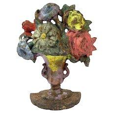 Antique Hubley Floral Vase Doorstop Cast Iron Figural Flower Bookend