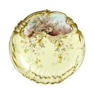 Vintage LS & S Limoges Cherub Floral Cabinet Plate French Porcelain Ornate Gold