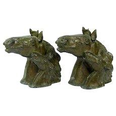 Vintage PAUL HERZEL Horse & Colt Bookends Statue Antique Bronze Finish