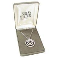 "Vintage Nolan Miller Concentric Circle Rhinestone Necklace 16-18"""