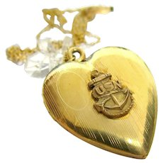Vintage USN Heart Locket Gold Filled Over Sterling Military Sweetheart Pendant