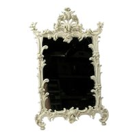 Vtg EMBOSSED ROSE Frame Mirror Iron Art Art Nouveau Cast Ornate Antique JM 38