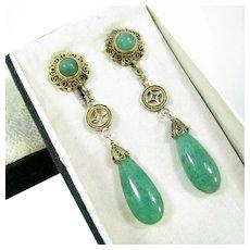 Antique Chinese Export Green Aventurine Dangle Drop Earrings Gilt Silver Filigree