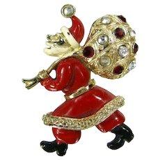 Vtg Hollycraft Santa Claus Brooch Rhinestone Enamel St. Nicholas Christmas Pin