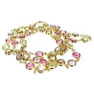 Vintage Swarovski Bezel Set Crystal Necklace Gold Tone Pastel Pink Yellow Ex