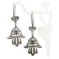 Vintage HAMSA HAND HEART Sterling Earrings Silver Filigree Hand of Fatima Dangle