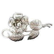 Vintage SILVERMAN BROTHERS Floral Pin Sterling Silver Signed SB Flower Brooch