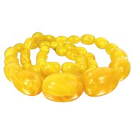 "Vintage FAUX AMBER Lucite Bead Necklace Egg Yolk Yellow Swirl Beads 24 3/4"" Long"