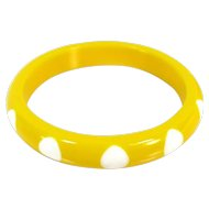 Vintage YELLOW LUCITE BANGLE White Polka Dots Wide Mod Bracelet