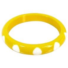 Vintage YELLOW LUCITE BANGLE White Polka Dots Wide Mod Bracelet