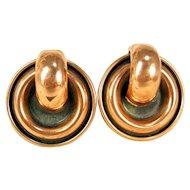 Vintage Matisse Renoir Copper Modern Art Design Round Clip Earrings