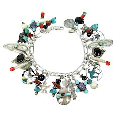 NATIVE AMERICAN 28 Charm Bracelet Sterling Silver Turquoise Beads Inlaid Stone